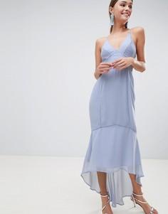 Платье миди на бретелях с кружевными вставками ASOS DESIGN - Синий
