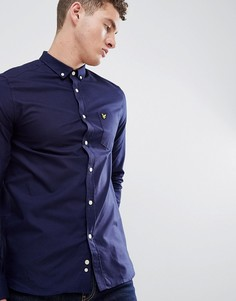 Темно-синяя оксфордская рубашка с длинными рукавами и логотипом Lyle & Scott - Темно-синий