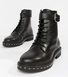 Кожаные ботинки на шнуровке для широкой стопы ASOS DESIGN Algebra - Черный