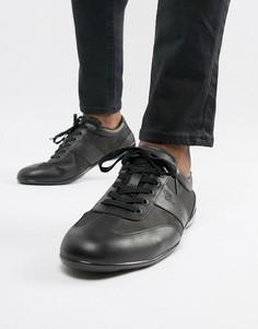 Черные кожаные кроссовки с сетчатыми вставками Emporio Armani city - Черный