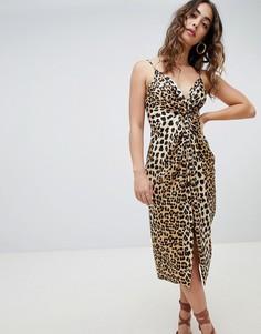 Платье с леопардовым принтом River Island - Коричневый
