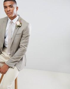Приталенный клетчатый блейзер из ткани с добавлением шерсти ASOS DESIGN Wedding - Светло-бежевый