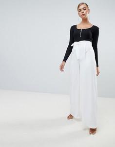 Широкие брюки с поясом Missguided - Белый