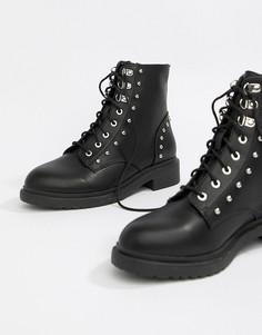dfdafde1b0ae Черные ботинки на шнуровке в стиле милитари Miss Selfridge - Черный