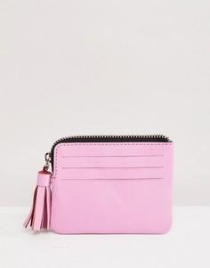 Кожаный кошелек для монет с кисточкой ASOS DESIGN - Розовый