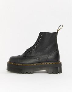 Черные кожаные ботинки на плоской платформе с молнией Dr Martens Sinclair - Черный