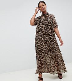 Плиссированное платье-рубашка макси с леопардовым принтом ASOS DESIGN Curve - Мульти