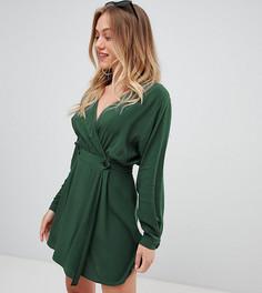 Повседневное платье мини с запахом ASOS DESIGN Petite - Зеленый
