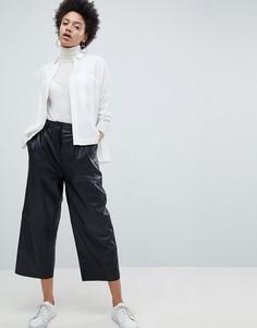 Кожаные укороченные брюки с широкими штанинами Selected Femme - Черный