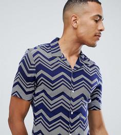 Темно-синяя приталенная рубашка из вискозы с шевронным узором ASOS DESIGN Tall - Темно-синий