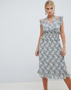 Платье с цветочным принтом и оборками Vila - Мульти