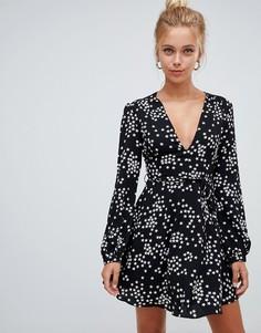 Короткое приталенное платье со звездным принтом Glamorous - Черный