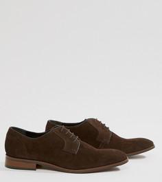 Коричневые замшевые туфли на шнуровке Dune Wide Fit - Коричневый