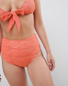 Плавки бикини с завышенной талией и отделкой кроше ASOS DESIGN - Выбирай и комбинируй - Оранжевый