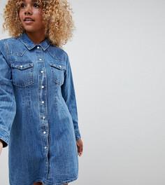 36564ec960d9226 Облегающее джинсовое платье-рубашка в стиле вестерн ASOS DESIGN Petite -  Синий