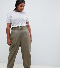 Широкие брюки с присборенным поясом ASOS DESIGN Curve - Коричневый