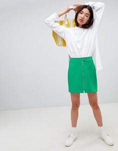 Мини-юбка на молнии ASOS DESIGN Tailored Uber - Зеленый