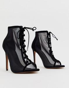 Сетчатые туфли на высоком каблуке ASOS DESIGN Phizzle - Черный