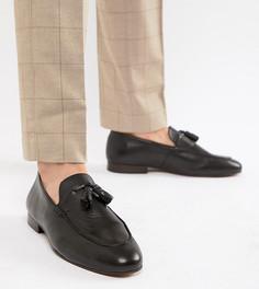 Черные кожаные лоферы для широкой стопы H By Hudson Bolton - Черный