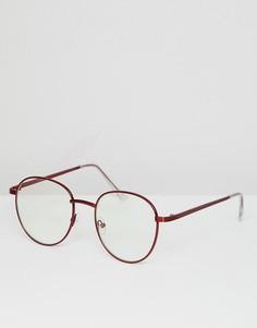 Круглые очки с прозрачными стеклами в красной металлической оправе ASOS DESIGN - Красный
