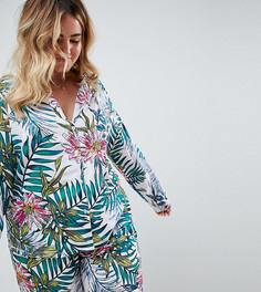 Пижамный комплект с рубашкой и брюками из 100% модала с принтом ASOS DESIGN Curve - Мульти