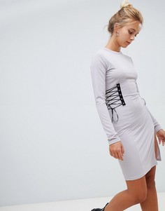 Платье с длинными рукавами и шнуровкой Glamorous - Серый