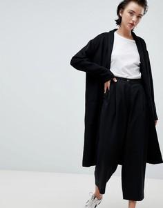 Черное трикотажное пальто с драпировкой Weekday - Черный