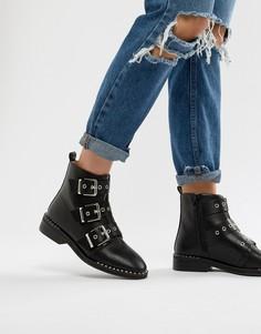 Ботинки с заклепками и пряжкой на плоской подошве RAID Jack Black - Черный
