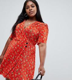 Плиссированное платье мини с цветочным принтом и пуговицами ASOS DESIGN Curve - Мульти