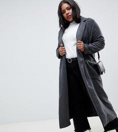 Длинное пальто с узором в елочку Glamorous Curve - Серый