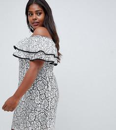 Кружевное платье с открытыми плечами Lovedrobe - Мульти