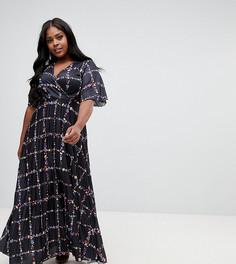Платье-кимоно макси с принтом и плиссировкой ASOS CURVE - Мульти