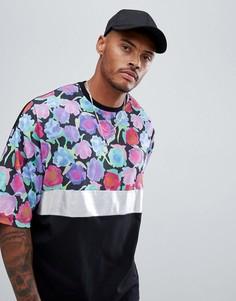Oversize-футболка с серебристой вставкой и цветочным принтом на кокетке ASOS DESIGN - Черный