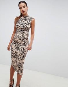 Платье-футляр миди со звериным принтом ASOS DESIGN - Мульти