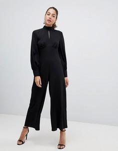 Комбинезон с высоким воротником, пышным рукавом на манжете и вырезом капелькой ASOS Design - Черный
