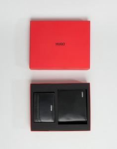 Черный бумажник и кожаная визитница в комплекте HUGO - Черный