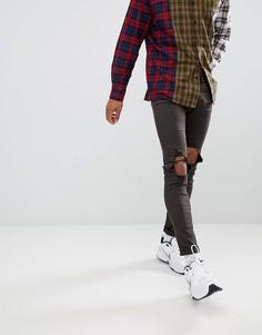 Супероблегающие джинсы с рваными коленями Sixth June - Зеленый