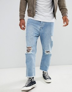 Свободные укороченные джинсы с рваной отделкой Brave Soul - Синий