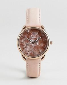Розовые часы с кожаным ремешком Fossil ES4419 35 мм - Розовый