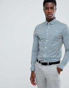 Приталенная рубашка в полоску с вышивкой ASOS DESIGN - Синий