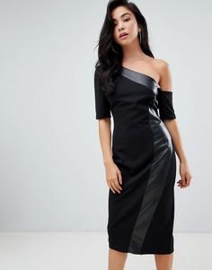 Платье-футляр на одно плечо со вставкой из искусственной кожи ASOS DESIGN - Черный