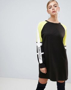 Черное платье-футболка со вставками колор блок Missguided - Черный