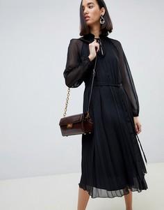 Плиссированное платье-трапеция миди ASOS DESIGN - Черный