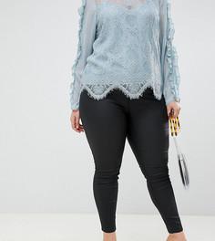 Черные джинсы скинни с покрытием River Island Plus Molly - Черный