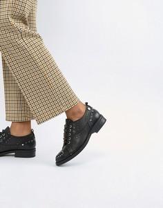 Броги на плоской подошве со шнуровкой Love Moschino - Черный