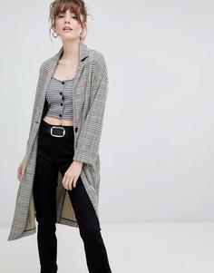 Легкое фактурное пальто в клетку New Look - Черный