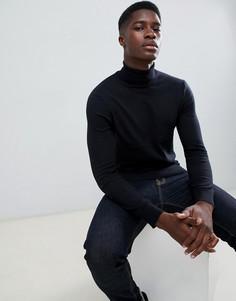 Черный джемпер с отворачивающимся воротником Burton Menswear - Черный