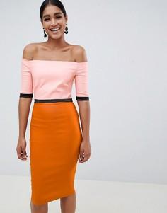 Платье-футляр в стиле колор блок с широким вырезом Vesper - Оранжевый