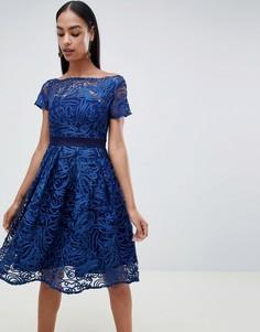 Кружевное приталенное платье с короткими рукавами Vesper - Темно-синий