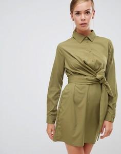 Платье-рубашка цвета хаки с поясом на талии Boohoo - Серый